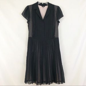 Talbots Black Pleated Sheer Shirt Dress Size 8